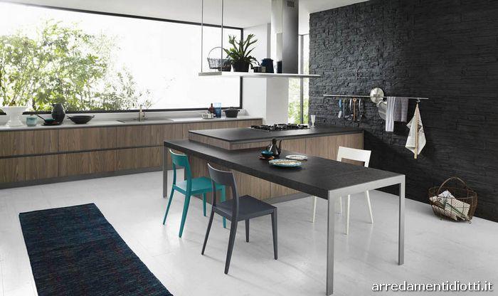 Cucina logica moderna lineare con gola diotti a f - Penisola con tavolo ...