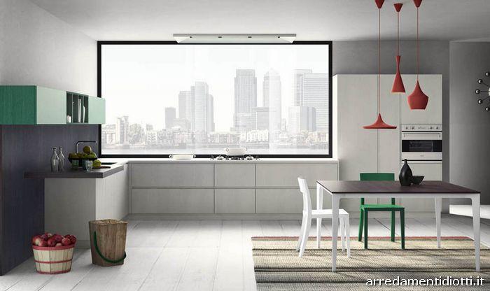 Cucina grafica design moderna componibile diotti a f arredamenti - Cucine grigio perla ...