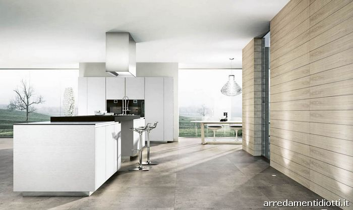 Cucina moderna domus con colonne scorrevoli diotti a f - Cucine grigio perla ...