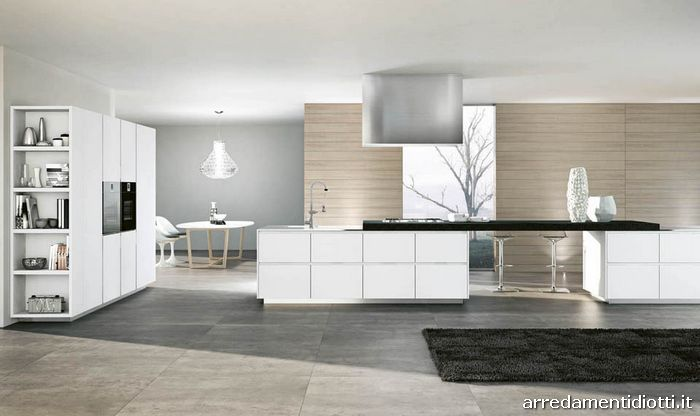 Cucina moderna domus con colonne scorrevoli diotti a f arredamenti - Cucine grigio perla ...