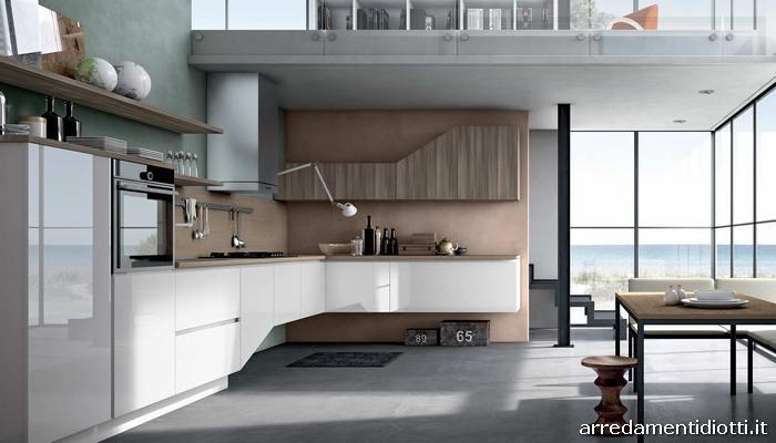 Cucina moderna in polimerico replay diotti a f arredamenti - Cucine moderne bicolore ...