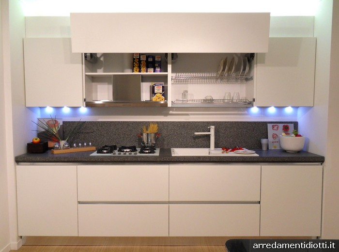 Cucina moderna sfera con gola curva e pensile elettrico diotti a f arredamenti - Profondita pensili cucina ...