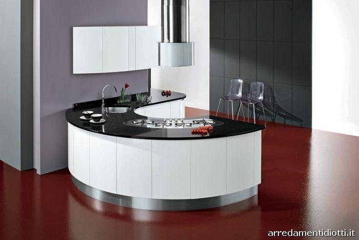 Cucina curva con gola geosfera diotti a f arredamenti - Cucina bianca top nero ...