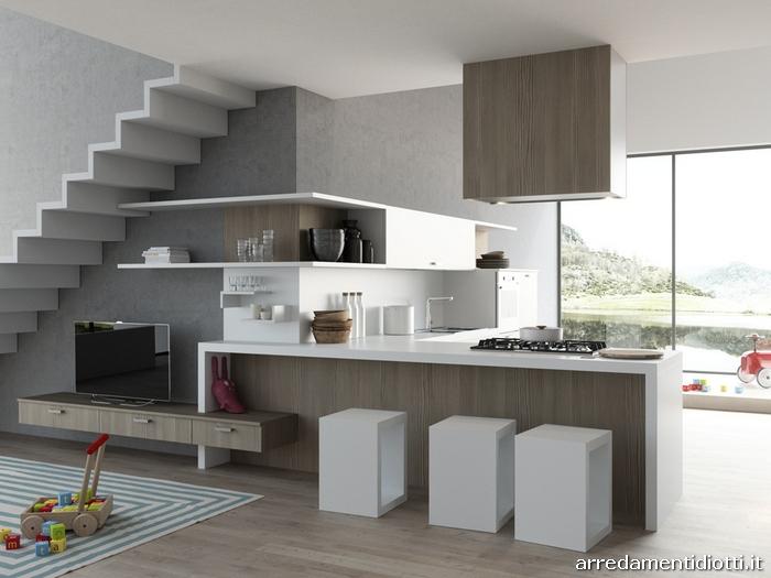Cucina moderna sospesa con living easy 13 diotti a f arredamenti - Cucine moderne con penisola ...