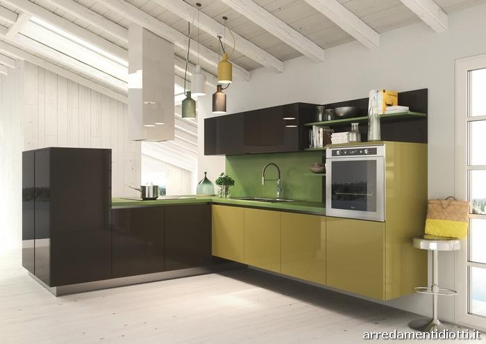 Cucina moderna sospesa con living easy 13 diotti a f - Cucina verde acido ...