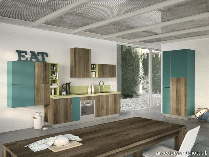 Cucina moderna sospesa con living easy 13 diotti a f for Cucina azzurra