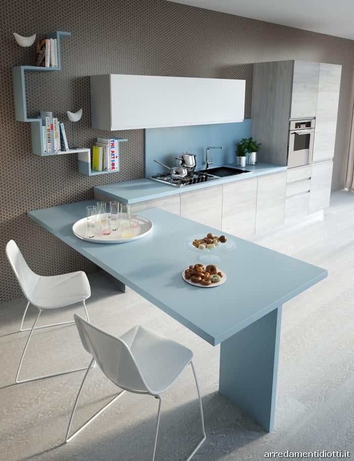 Cucina moderna con maniglia pantografata smile diotti a f arredamenti - Mensole cucina moderna ...
