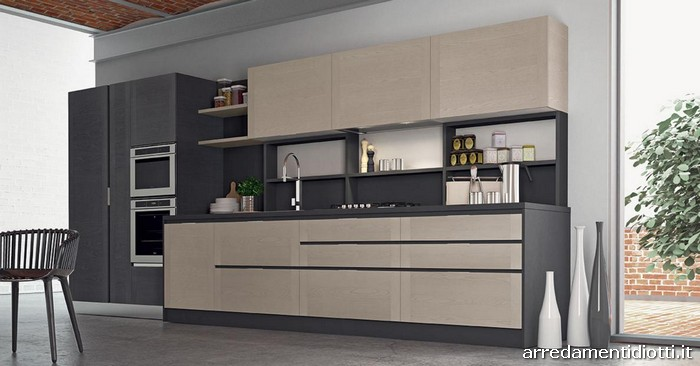 La cucina va ad esaltare la lavorazione del frassino sia - Cucina lineare 3 metri senza frigo ...