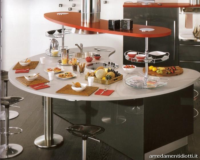 Cucina moderna laccata con top curvo skyline diotti a f - Isole per cucine moderne ...
