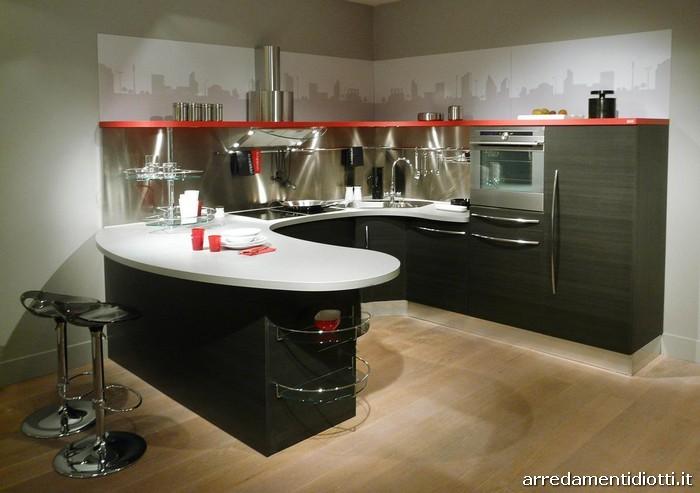 Cucina componibile con top curvo skyline diotti a f arredamenti - Cucine snaidero moderne ...