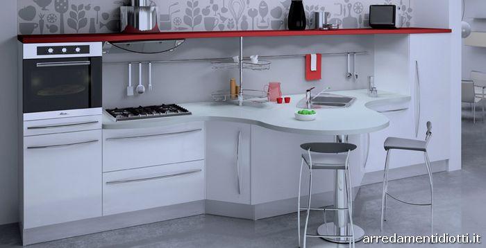Cucina componibile con top curvo skyline diotti a f arredamenti - Cucina bianca e rossa ...