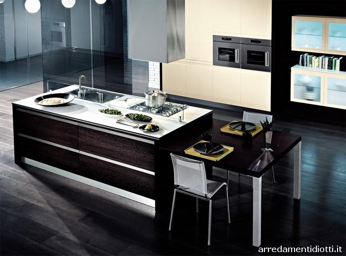 Cucina senza maniglia in essenza e laccata zerocinque - Isole per cucine moderne ...