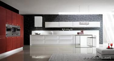Cucina quadra con anta a telaio diotti a f arredamenti for Cucine rosse moderne