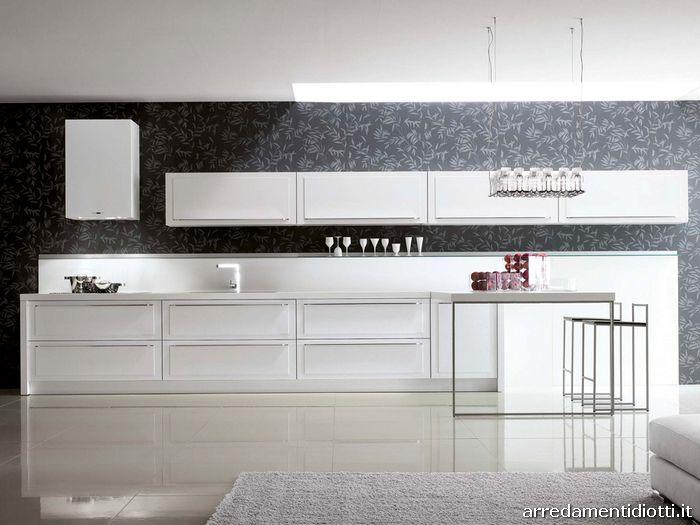 Cucina quadra con anta a telaio diotti a f arredamenti - Cucina bianca e marrone ...
