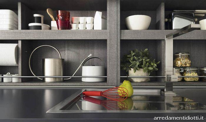 Cucina moderna con gola o maniglia grafica diotti a f - Cucine a giorno ...