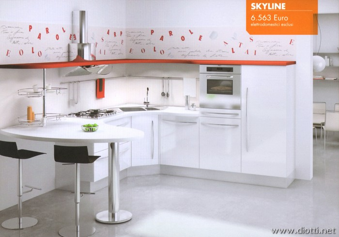 Skyline Snaidero kitchen Crystal White glossy polimeric