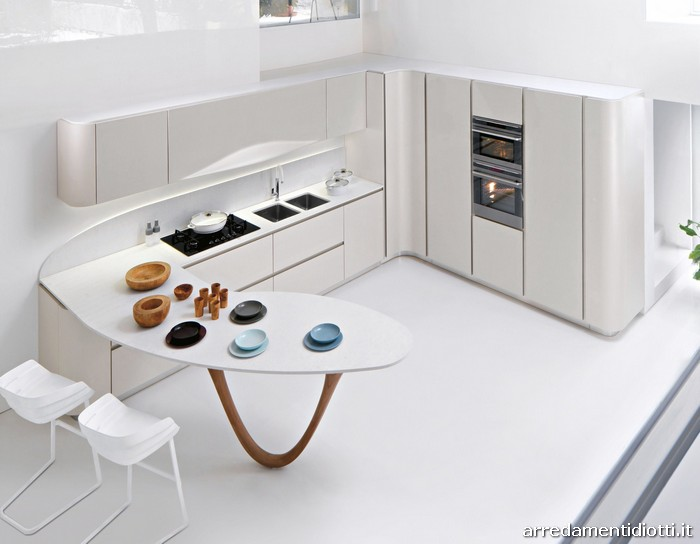 Cucina Ola 20 componibile curva con maniglia integrata - DIOTTI A&F ...