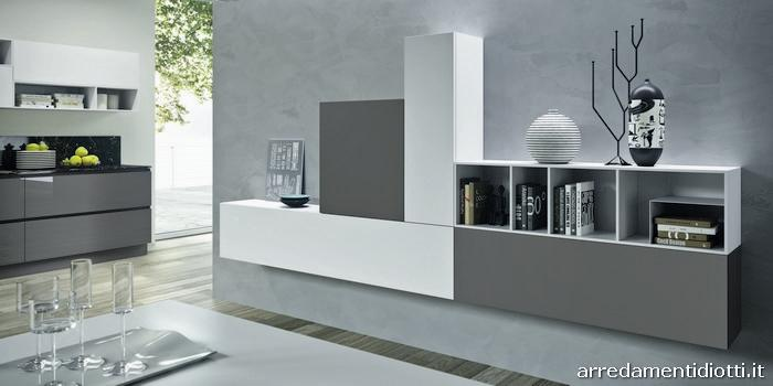 Mobili arredamento per la casa completo one diotti a f arredamenti - Cucina moderna bianca e grigia ...