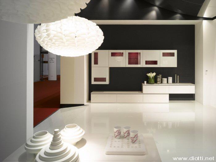 mobile soggiorno bianco laccato : Day mobile soggiorno laccato bianco vetro rosso