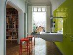 Board cucina lucida verde cedro blocco corian sopseso a sbalzo