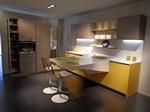 Board cucina piano lavoro sbalzo corian larice grigio giallo curry