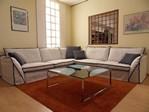 Pitagora divano moderno tessuto bordo contrasto cuscini