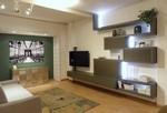 Side System soggiorno con porta tv rack flag Kaki e Acquarello