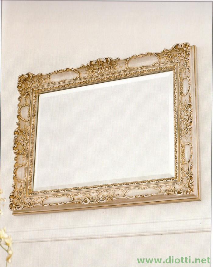 La specchiera 6083 in finitura laccata bianco ed oro, di cm. 78x98