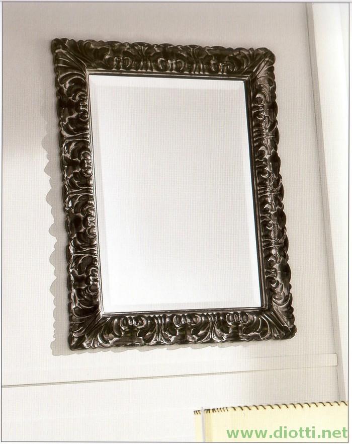 La specchiera 6156 nella finitura laccata nero ed argento, cm. 70x90