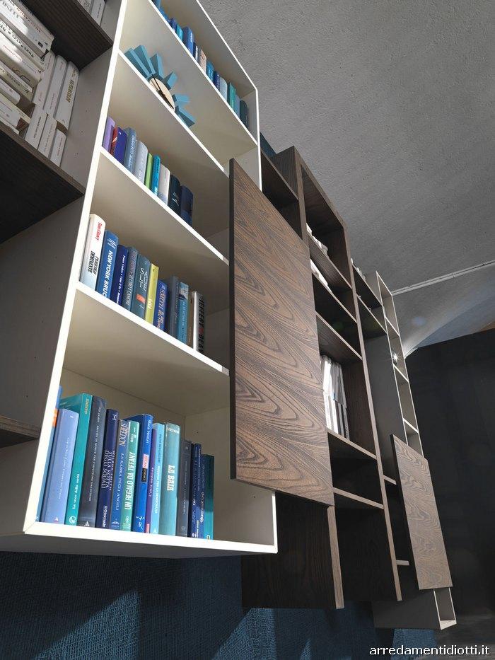 Libreria con moduli componibili side system diotti a f - Libreria a parete sospesa ...