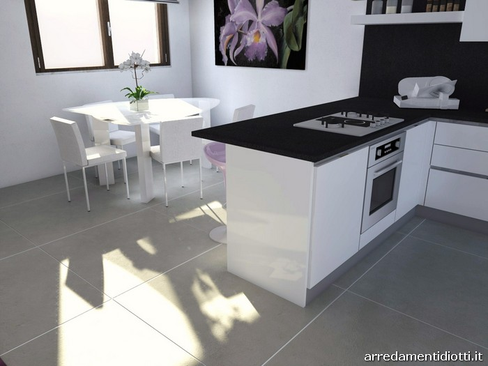 Cucina horizon laccata bianco lucido diotti a f arredamenti - Cucina bianca lucida ...