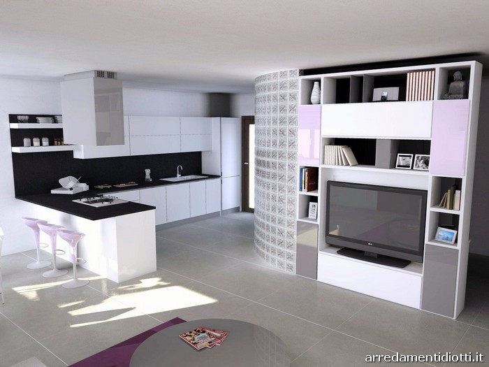 Cucina Horizon laccata bianco lucido - DIOTTI A&F Arredamenti