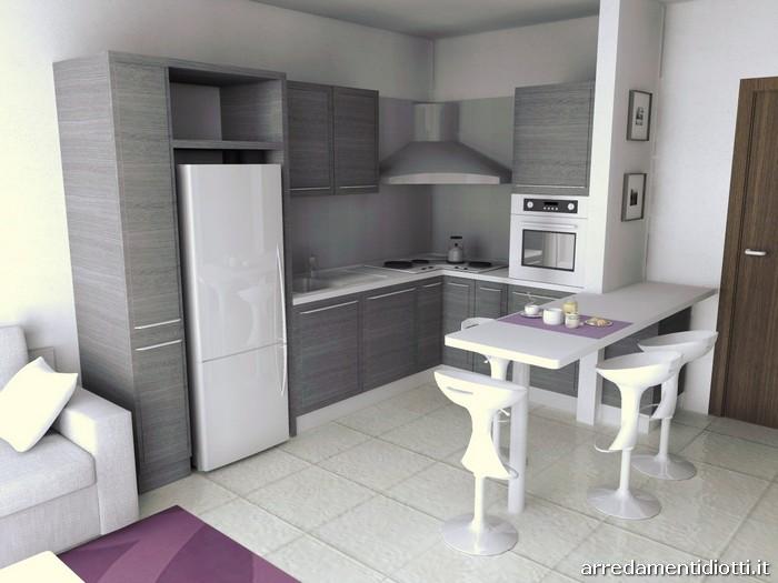Cucina quadra rovere e soggiorno lampo lucido diotti a f - Cucina sala open space ...