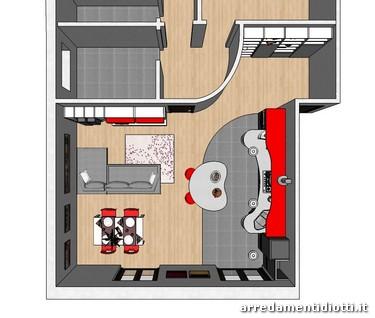 Cucina skyline e soggiorno lampo grigio rosso diotti a f - Pianta di una cucina ...
