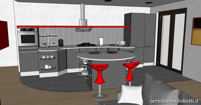 cucina skyline e soggiorno lampo grigio rosso - diotti a&f arredamenti - Soggiorno E Cucina Moderna 2