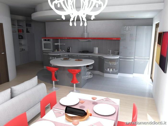 Colore Di Soggiorno : Cucina skyline e soggiorno lampo grigio rosso diotti a f