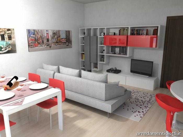 Cucina skyline e soggiorno lampo grigio rosso diotti a f for Divano rosso abbinamenti
