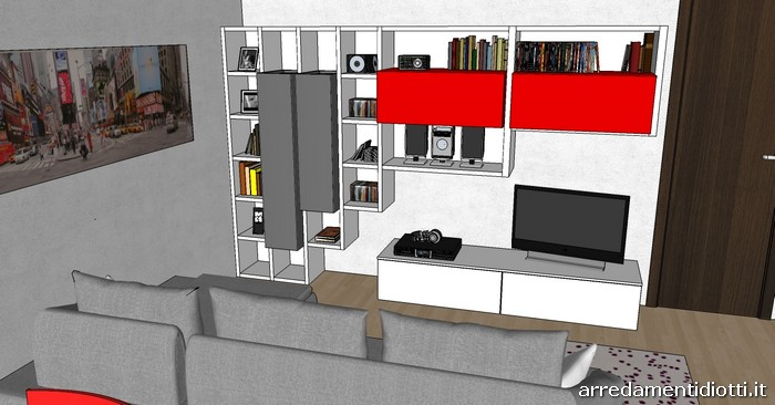 cucina skyline e soggiorno lampo grigio rosso - diotti a&f arredamenti - Arredamento Grigio E Rosso