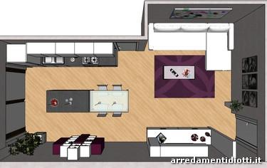 Cucina orange e soggiorno lampo bianco lucido diotti a f for Foto di cucina e soggiorno a pianta aperta
