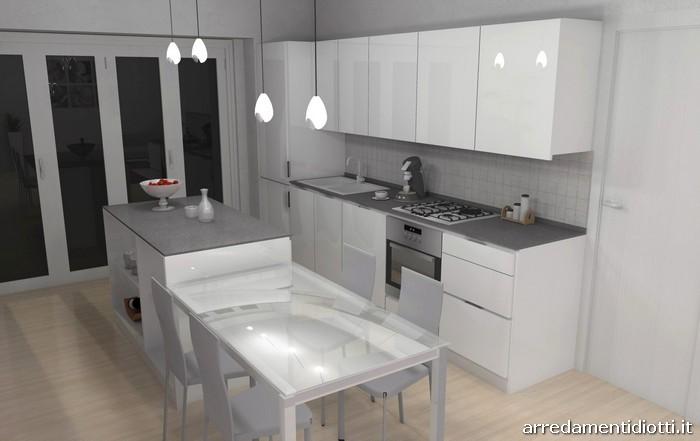 Cucina Orange e soggiorno Lampo bianco lucido - DIOTTI A&F Arredamenti