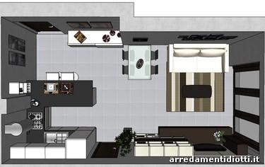 Cucina domus con penisola e soggiorno logo diotti a f for Foto di cucina e soggiorno a pianta aperta