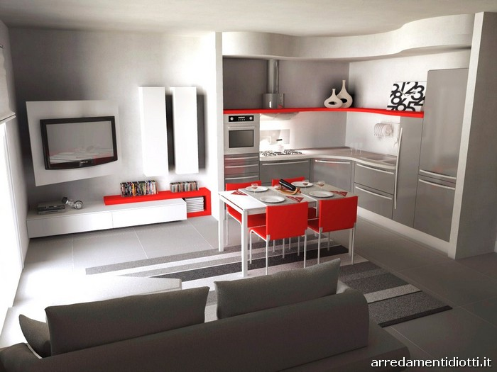 Cucina skyline e soggiorno link con porta tv diotti a f arredamenti - Open space cucina soggiorno ...