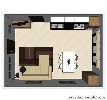 Cucina maxim soggiorno lampo in noce nero diotti a f for Arredare ambiente unico cucina soggiorno