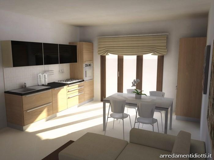 cucina maxim soggiorno lampo in noce-nero - diotti a&f arredamenti - Arredare Unico Ambiente Cucina Soggiorno