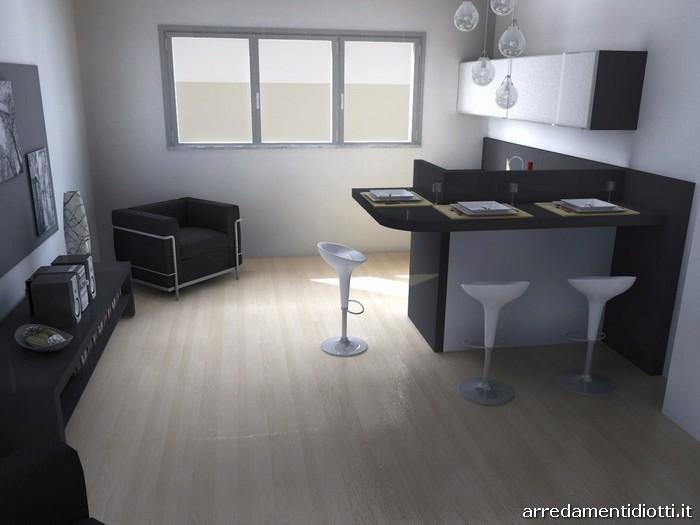 Cucina system vetro e soggiorno day lucido diotti a f - Cucina soggiorno open space progetto ...