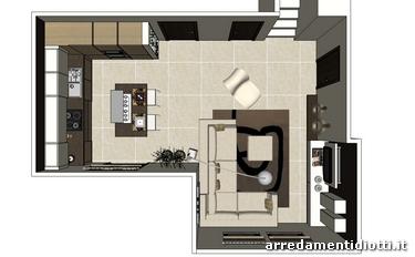 Cucina moderna con isola e living sfera e side system for Foto di cucina e soggiorno a pianta aperta