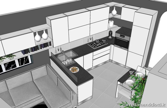 Cucina spring bianca e porta tv rack orientabile diotti for Concetto aperto cucina soggiorno