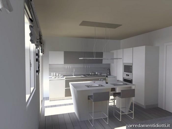 Cucina Prisma con isola e basi inclinate - DIOTTI A&F Arredamenti
