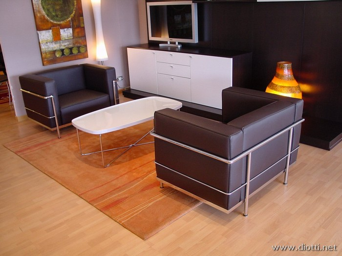 Salotto Le Corbusier.Lc3 Armchairs By Le Corbusier Diotti A F Italian Furniture