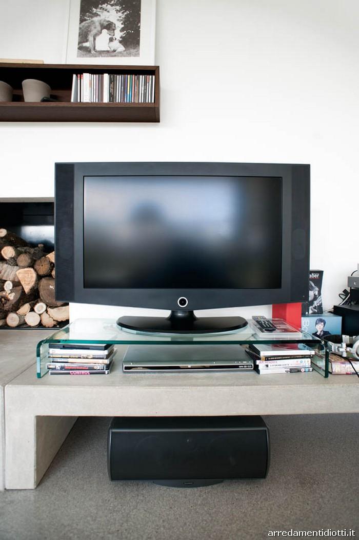 Base porta tv in vetro trasparente cm.90 p.35 h.12,5
